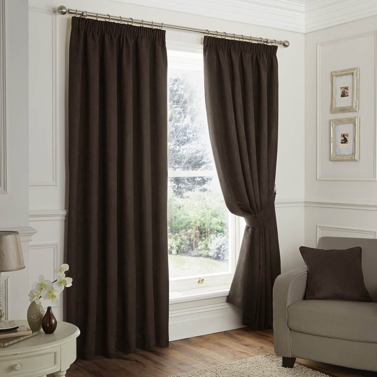 30% off faux suede blackout pencil pleat curtains - chocolate tyvlrlp