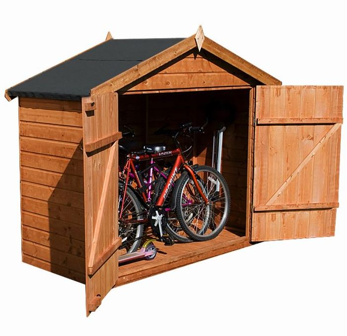 7x3 waltons tongue and groove apex wooden bike shed overall view umdnnqj