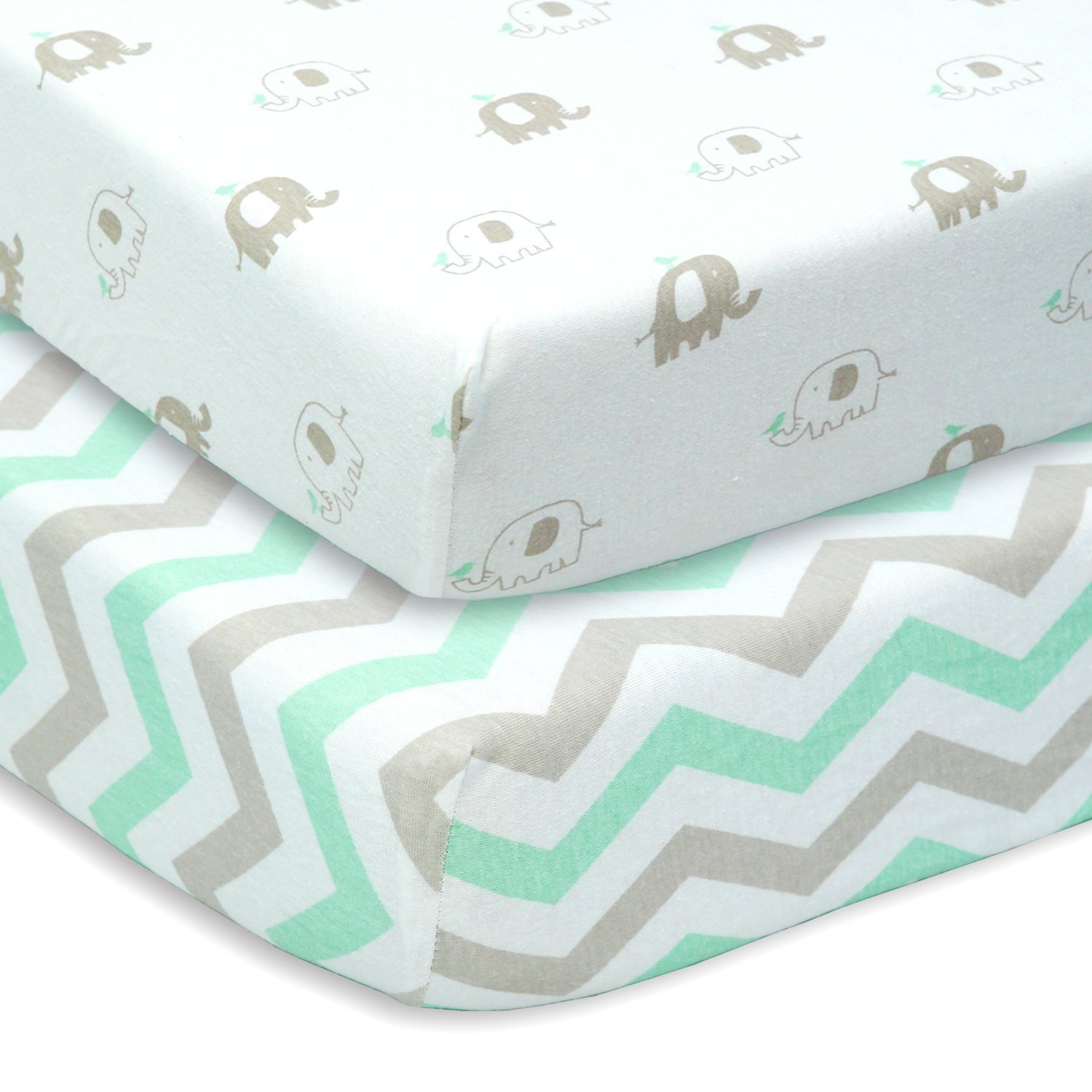 amazon.com : cuddly cubs set of 2 jersey cotton fitted crib sheets in kewzxgx