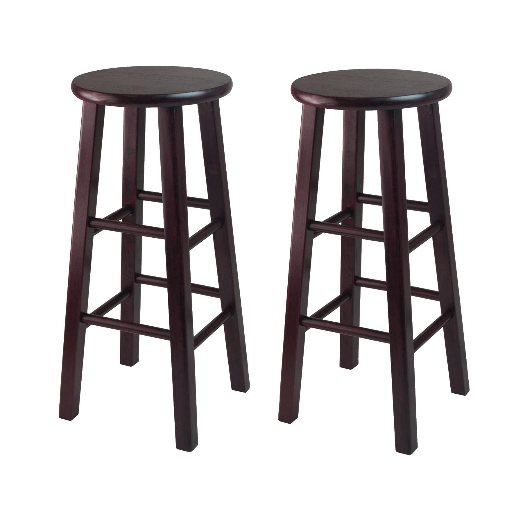 bar stools with backs winsome bar stool with square legs, 29-inch, espresso, set of 2 ssexrlw