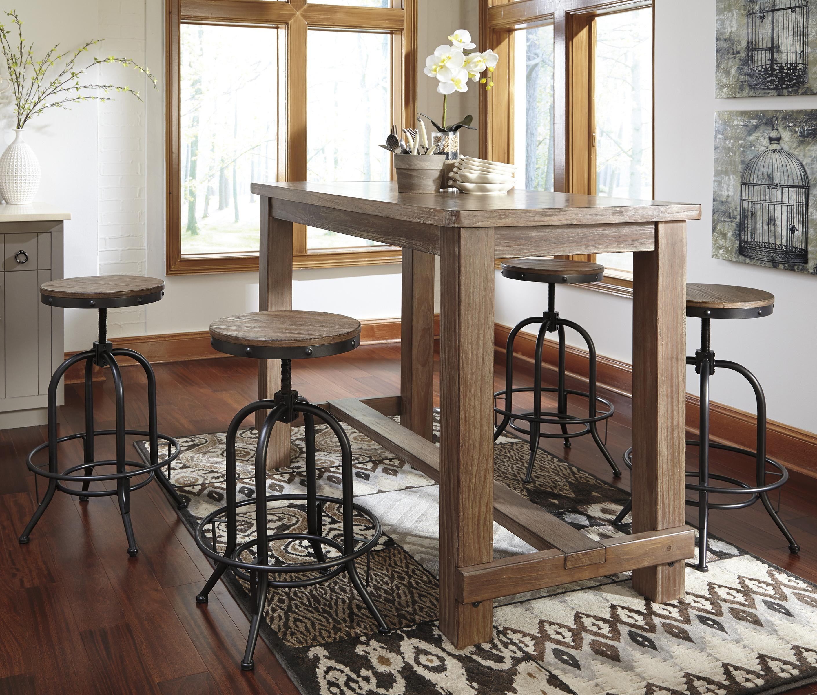 bar table and chairs signature design by ashley pinnadel 5-piece bar table set with industrial  style mdrdmhy
