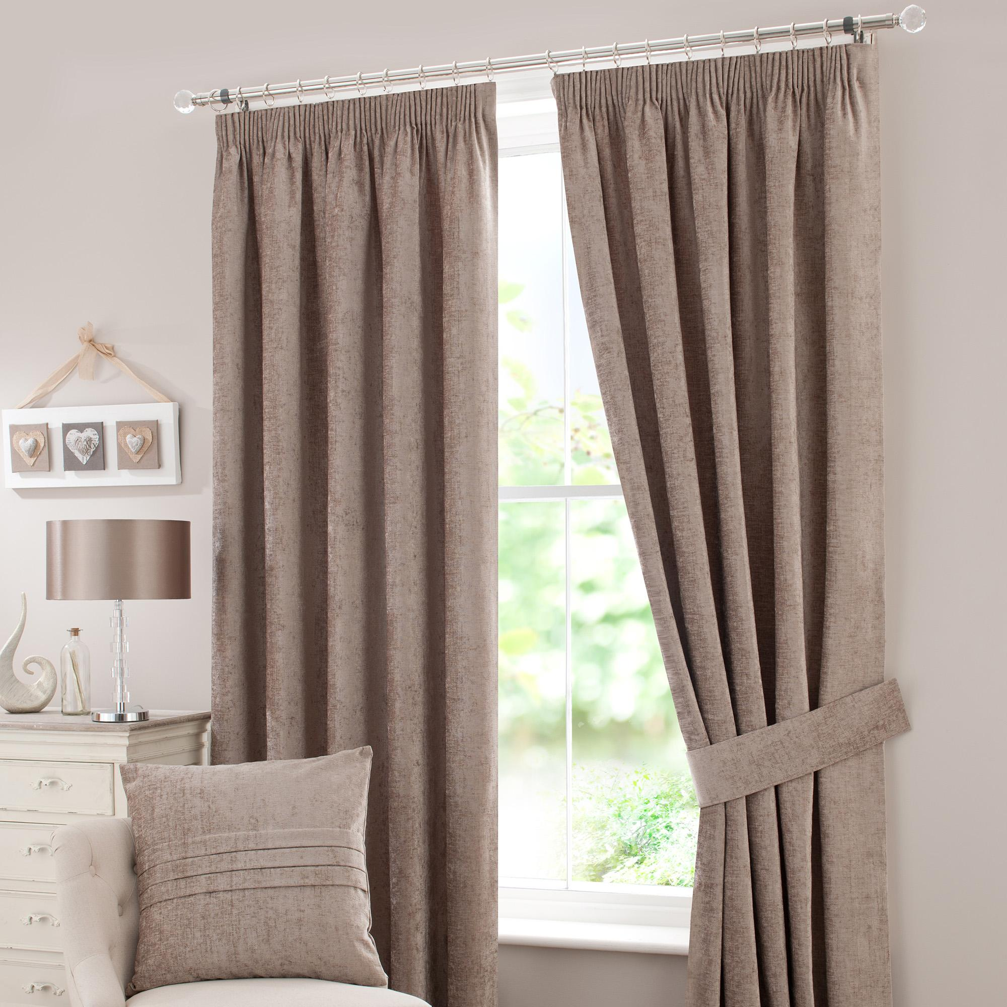chenille taupe lined pencil pleat curtains vvoiutx