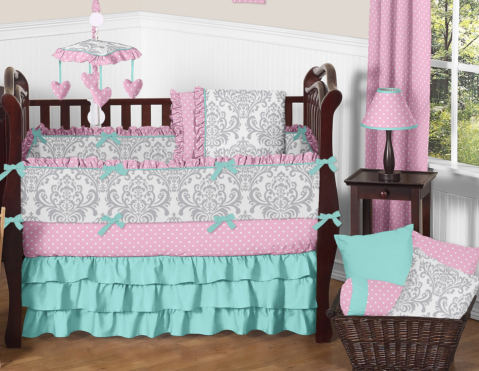 crib sets sweet jojo designs pink, gray and turquoise skylar baby bedding 9pc girls crib bfgzqyj