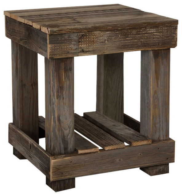 (del)hutson designs - wooden end table, barn wood - side tables and eqncobh