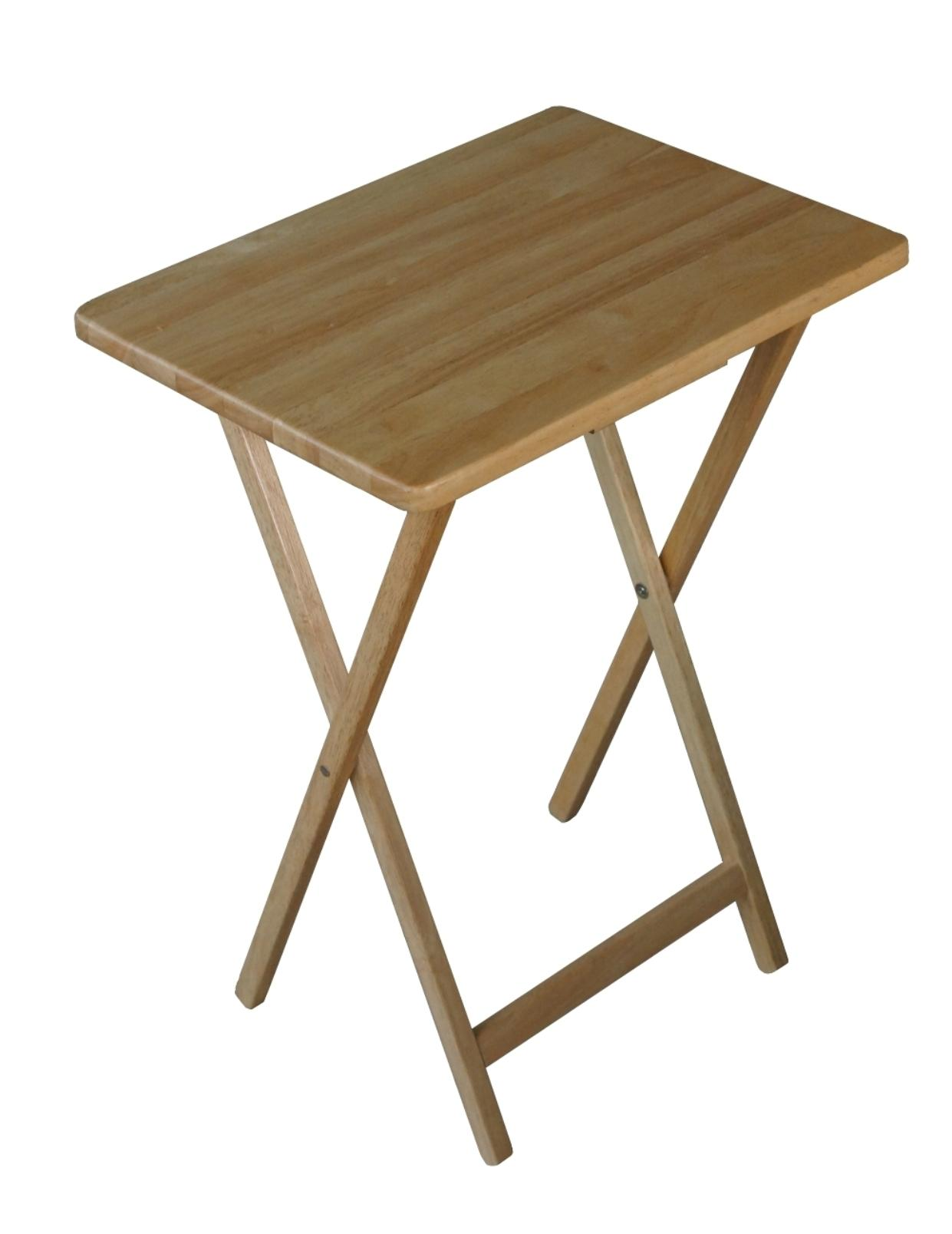 folding wooden tv tray table - natural eduuhbh