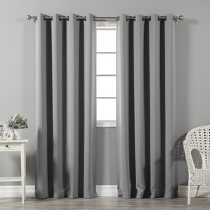 gray curtains solid blackout thermal grommet curtain panels (set of 2) umeguud