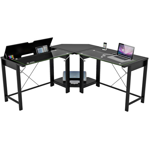l shaped computer desk palomar l-shaped computer desk, black, metal and glass, paper laminate iqagpgl