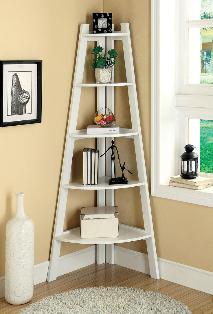ladder bookcase furniture of america ladder shelf in white-ac6214wh for $171 tyznzrs