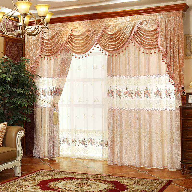 luxury floral/lace suede/polyester vintage curtains skanlte