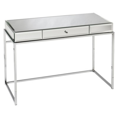 modern glass mirrored desk - aiden lane lcjwizv