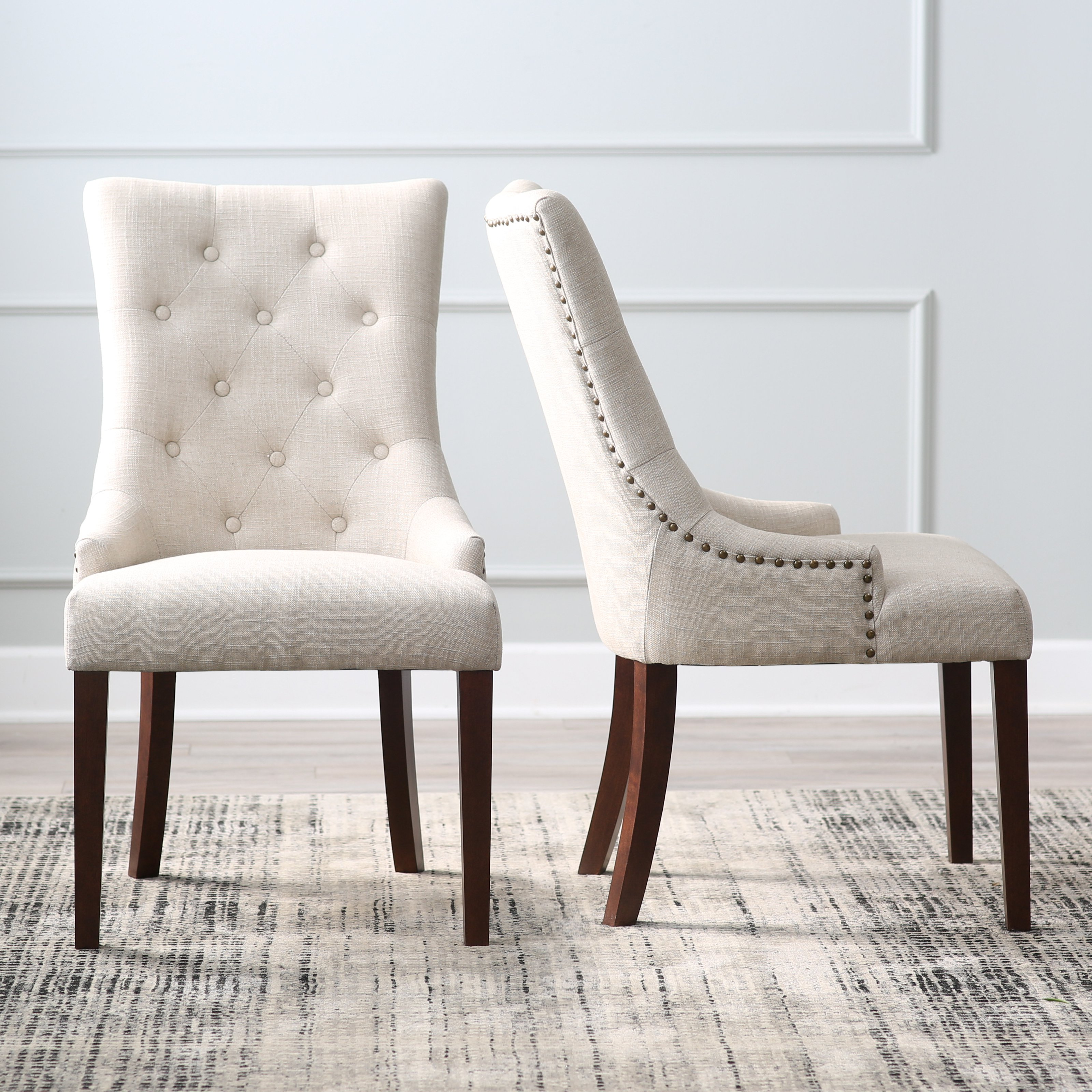 morgana tufted parsons dining chair - set of 2 | hayneedle hwdnbak