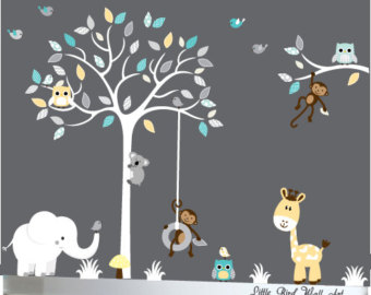 nursery wall decals wall decals for baby, baby wall decal, tree decal, wall decals nursery, tbpikli