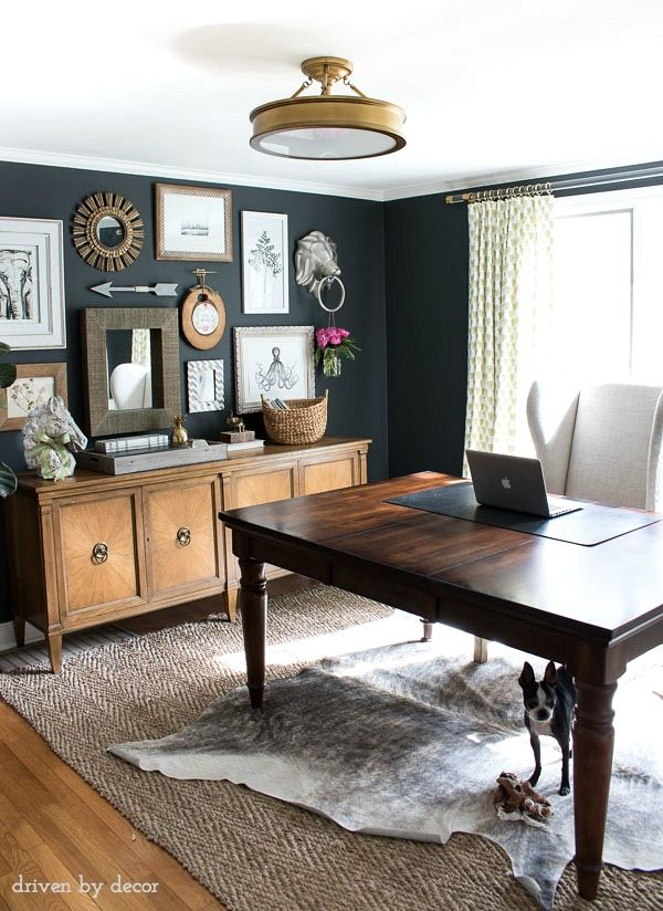 office decor home office with charcoal gray walls and eclectic gallery wall above a zefruxn