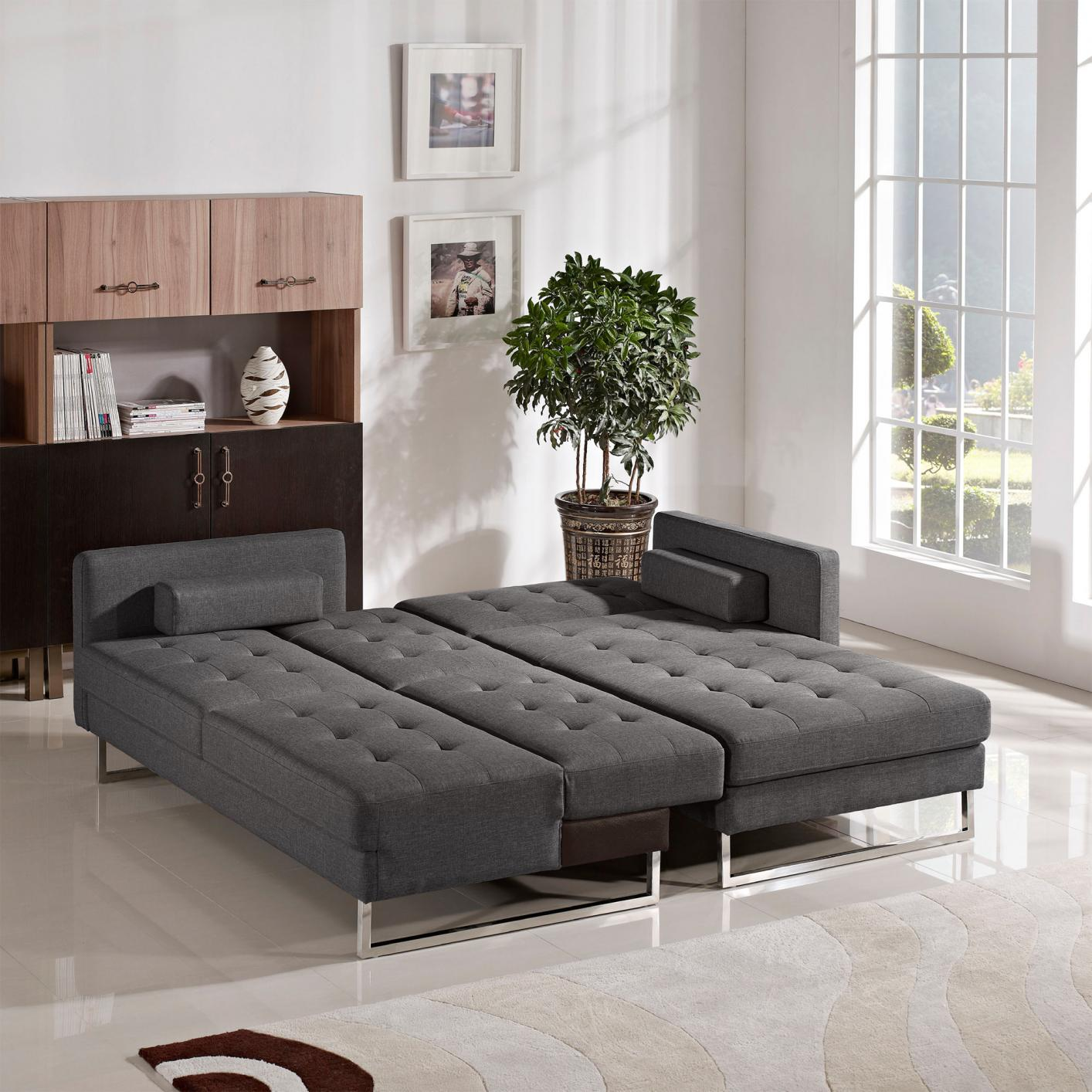 ... opus grey fabric sectional sofa bed ... zglhsmf