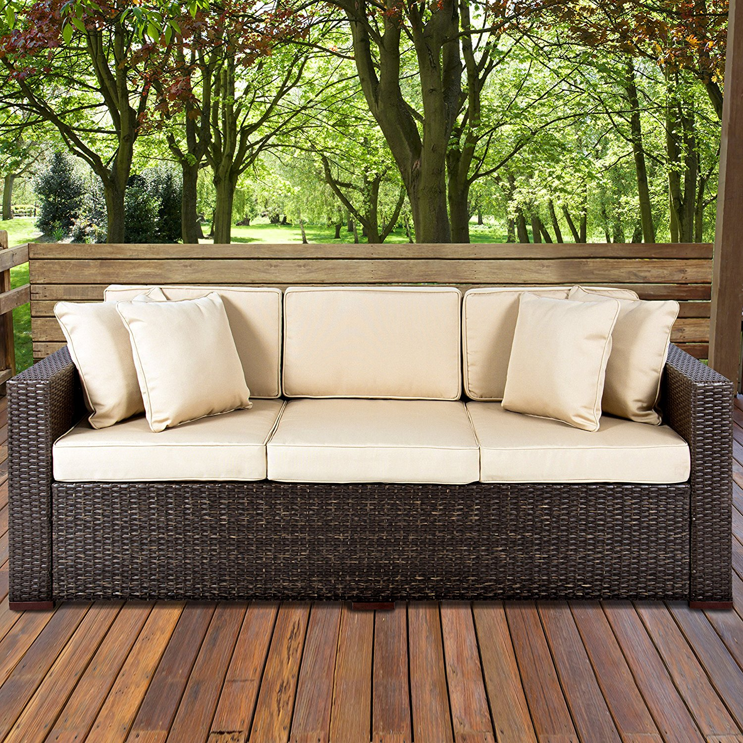 outdoor couch amazon.com : best choiceproducts outdoor wicker patio furniture sofa 3  seater luxury mrliflr
