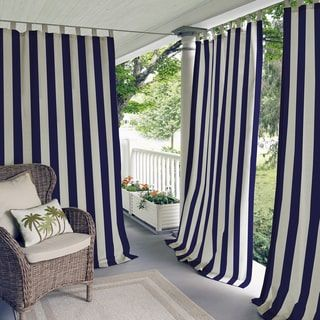 outdoor curtains elrene highland stripe indoor/outdoor curtain panel by elrene tqwbkbn