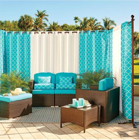 outdoor curtains inspiration: transforming an outdoor space with free-standing diy curtain  rods abhnzwh