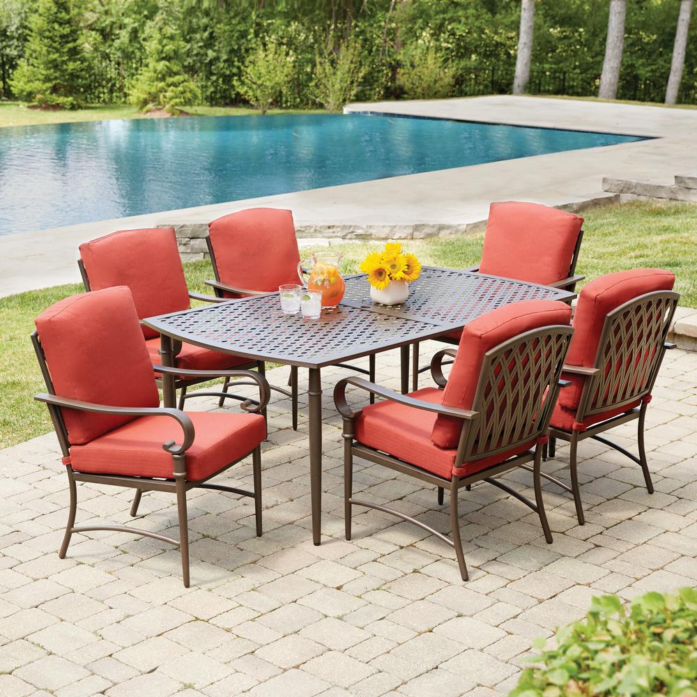 outdoor dining sets hampton bay oak cliff 7-piece metal outdoor dining set with chili cushions hcahzbf