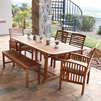 outdoor dining sets we furniture solid acacia wood 6-piece patio dining set sywxvfv