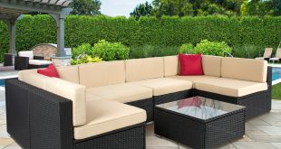outdoor patio furniture best choice products outdoor garden patio 4pc cushioned seat black wicker  sofa anschkh