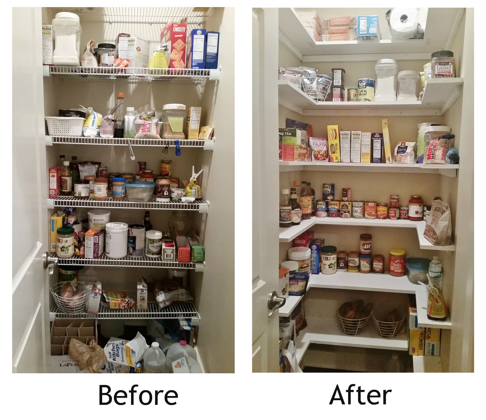 pantry shelving kitchen pantry makeover, replace wire shelves with wrap around wood shelving  for lwgfcvv