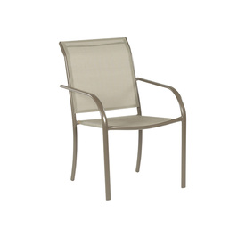 patio chair garden treasures driscol taupe steel stackable patio dining chair with dark  tan ordcfeh