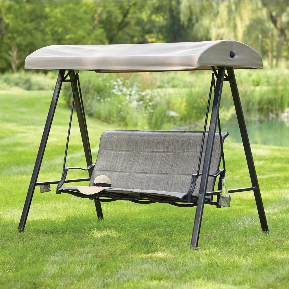patio swings statesville 3-person padded sling outdoor swing with canopy kwsogyv