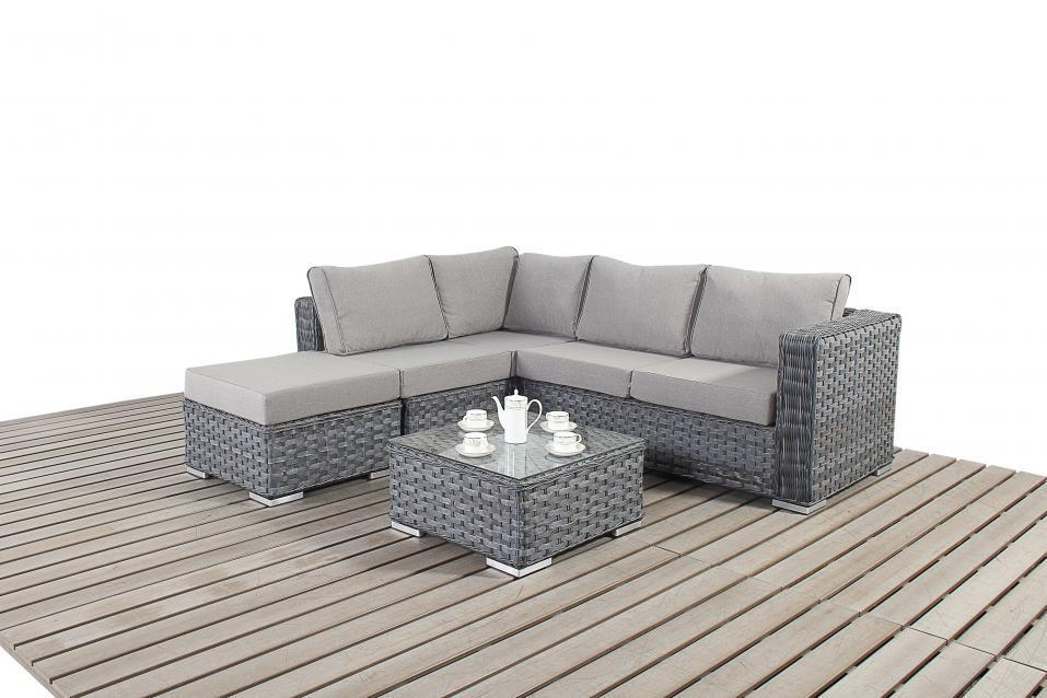 ... platinum small grey rattan corner sofa ... ehgknbp