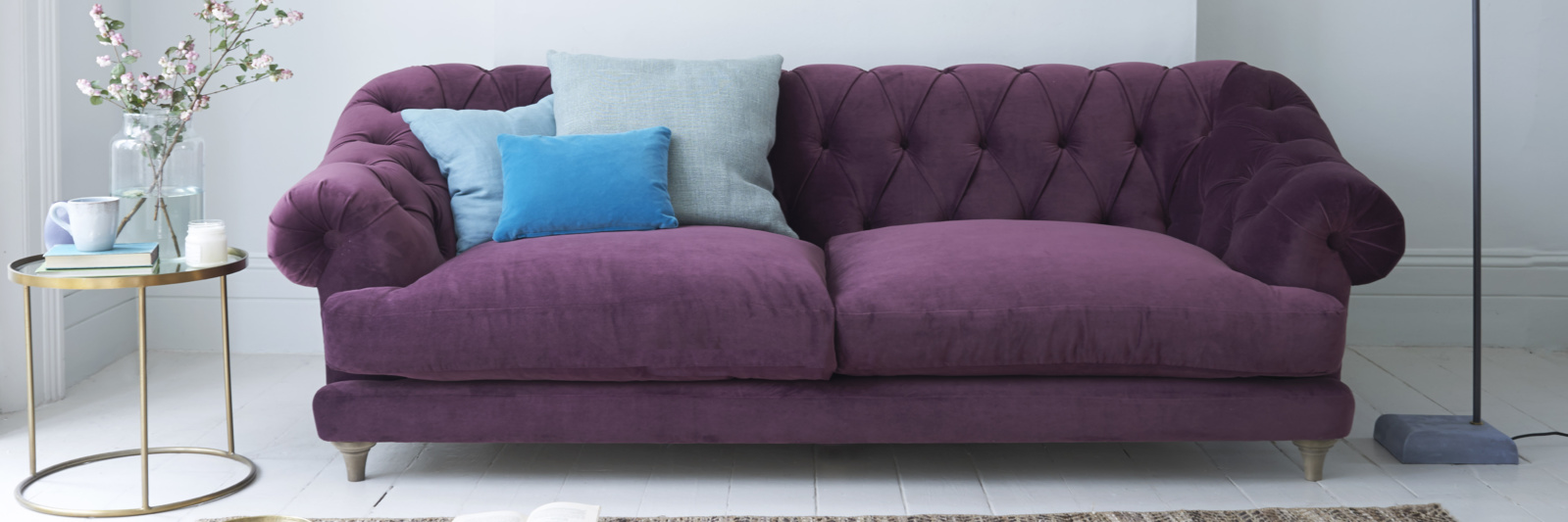 purple sofa bagsie deep-buttoned chesterfield sofa in purple fabric jcdluzs