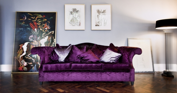 purple sofa hereu0027s an example of purple velvet with grey unqwpxr