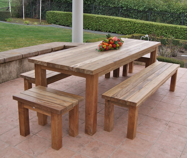reclaimed, recycled teak patio furniture rustic-patio eqhanlr