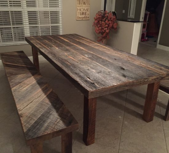 reclaimed wood table stacyu0027s rustic reclaimed wood dining table with matching benches ojzgavp
