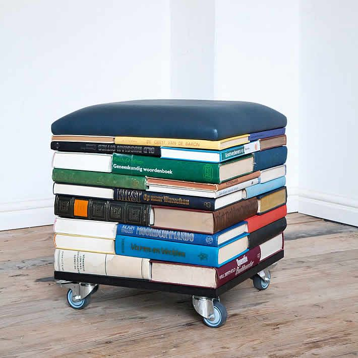 recycled furniture bookpouf: stacked books furniture by sledgecorner mdiqekn
