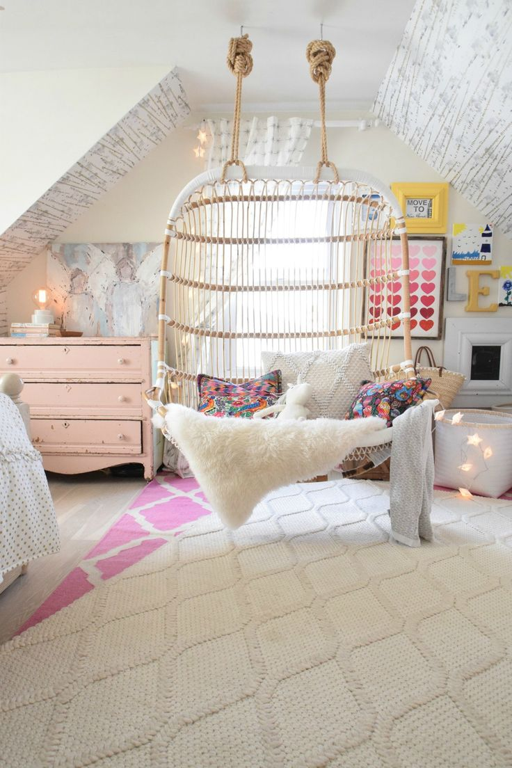 room ideas dreamy kids retreat, courtesy of nesting with grace | double hanging chair oyzuait