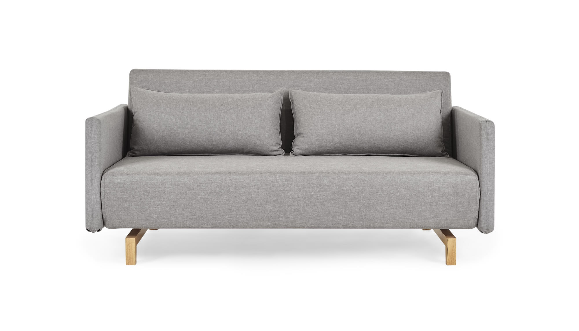 scandy oxford smoke light grey fabric queen 2 seater sofa bed front view aztjptr