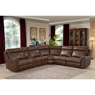 sectional sofas nicole brown large 6-piece family sectional with 3 recliners, cup holders,  and cwppgxk