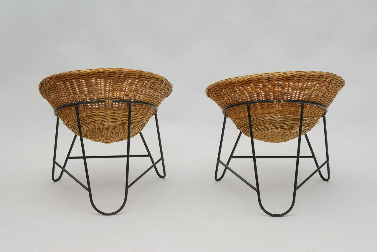 set of two french wicker chairs, circa 1950 3 srszgjy