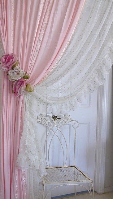 shabby chic curtains rose tie back and curtains. i would want to add lace curtains and repdpzf