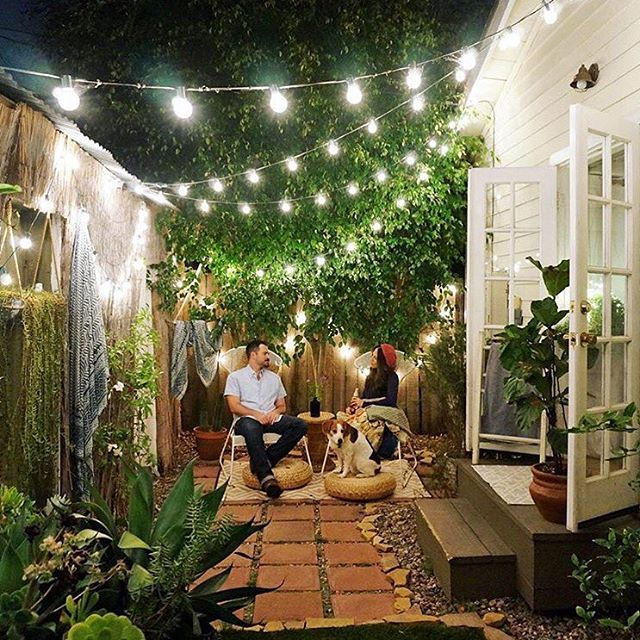 small patio ideas how to make a back garden without grass look green! (domino mag) · ejzcdsw