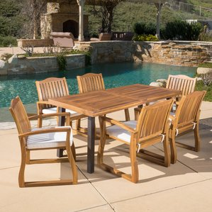 teak patio furniture isidore 7 piece dining set ijurpob
