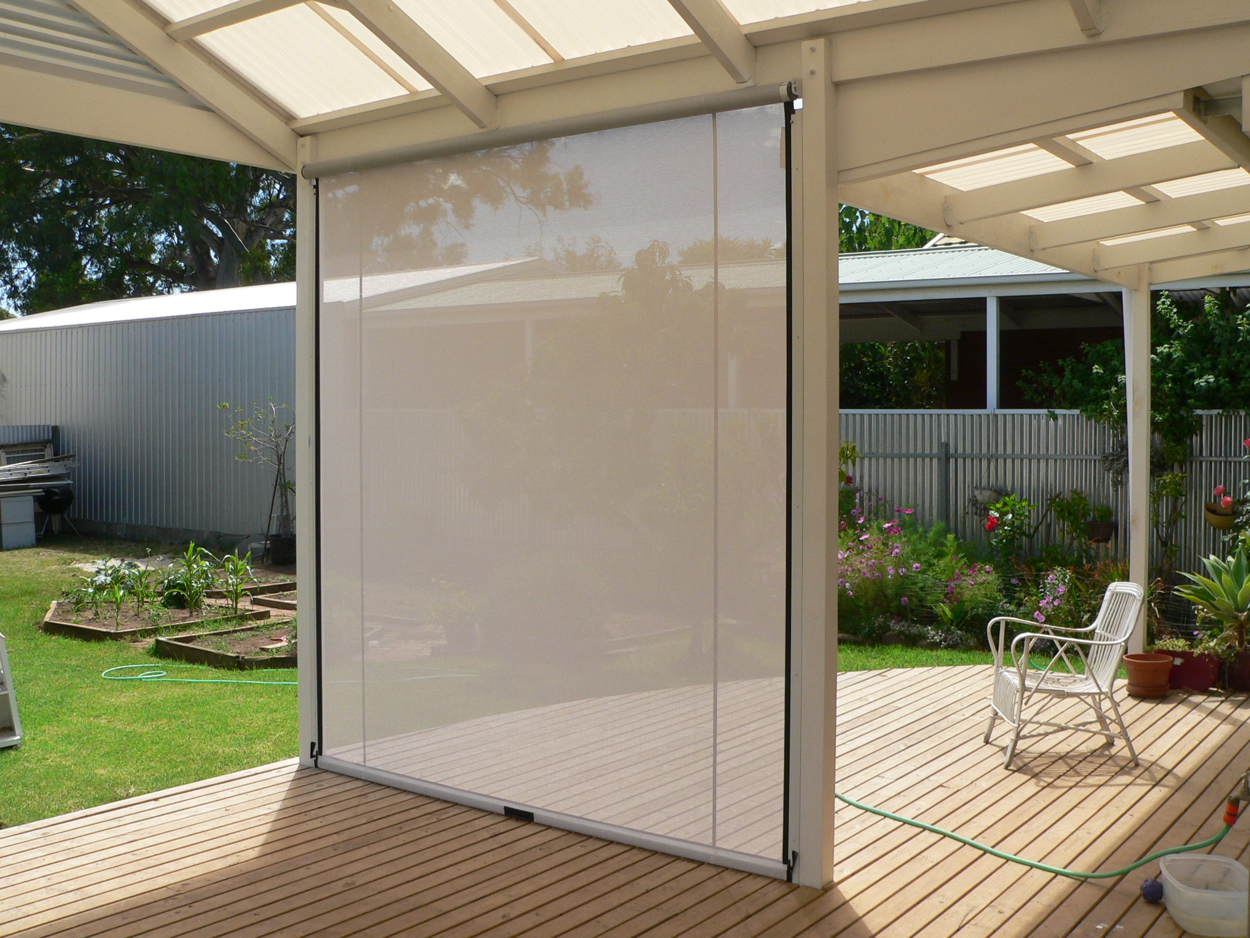 these outdoor blinds can be easily cleaned by wiping it with a mild mhpnoub