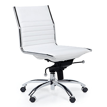 white office chair malcolm armless chair - white yldmdlv