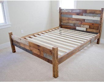 wooden bed frames reclaimed wood bed frame w/ head/foot board wvcxjll