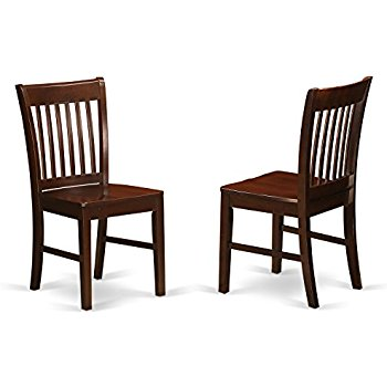 wooden dining chairs east west furniture nfc-mah-w kitchen/dining chair set with wood seat,  mahogany finish, oeepzyd
