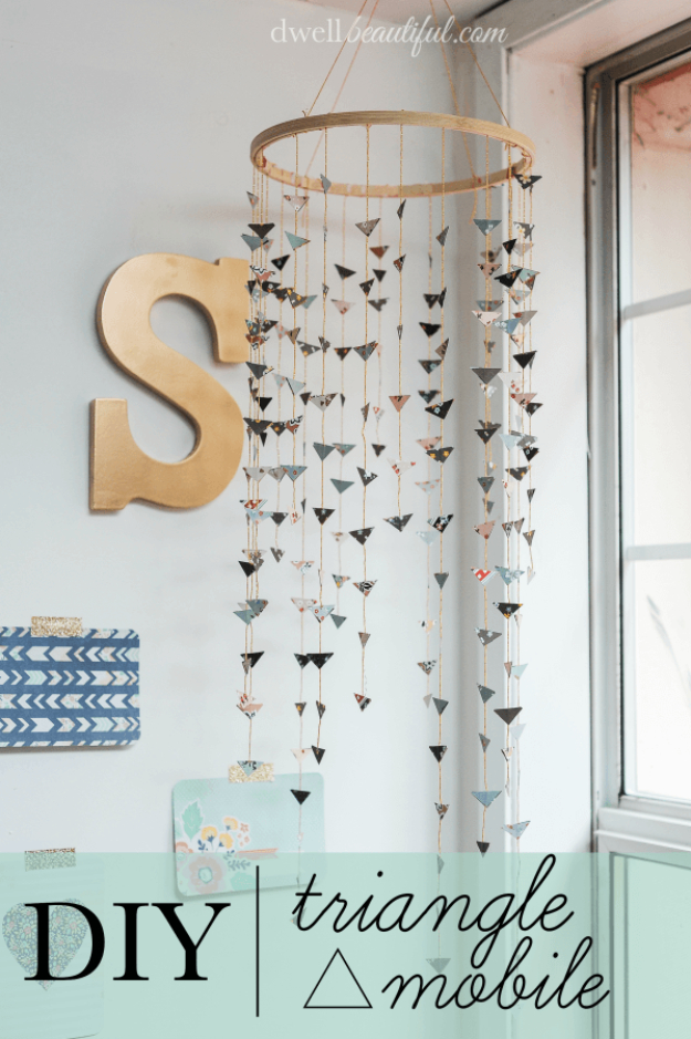 Amazing 42 diy room decor for girls - diy triangle mobile - awesome do dsubzww