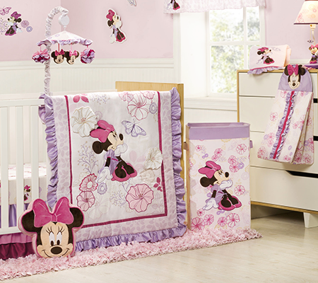 Amazing baby crib sets minnie mouse butterfly dreams 4-piece crib bedding set hnvicjf