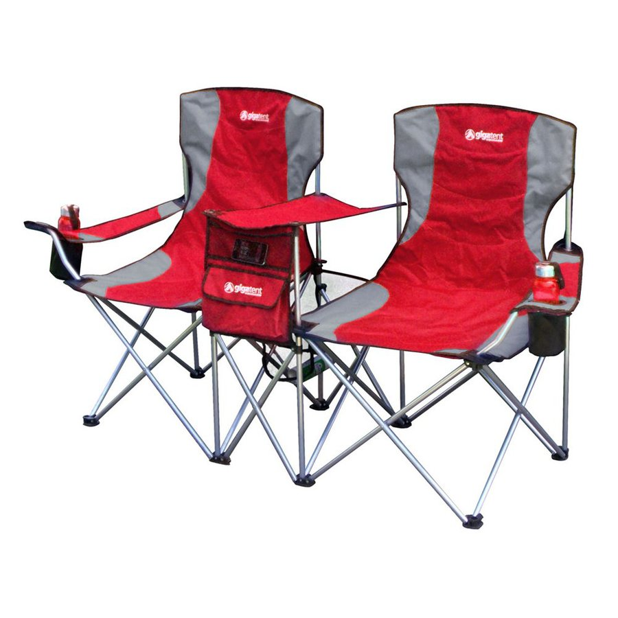 Amazing camping chairs gigatent red steel folding side-by-side double camping chair tlxayos