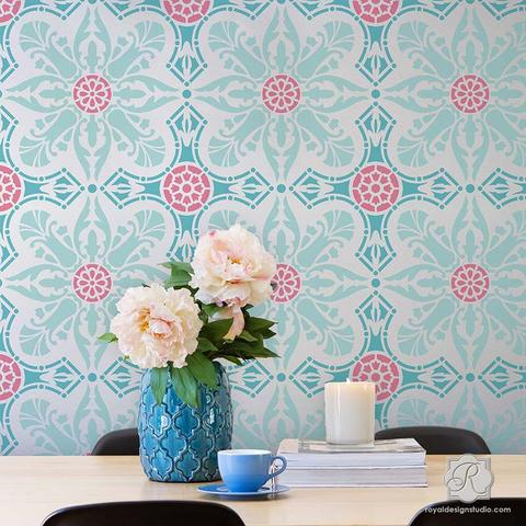 Amazing stencils for walls colorful wallpaper look painted u0026 stenciled on walls - easy room makeover swfvdnu