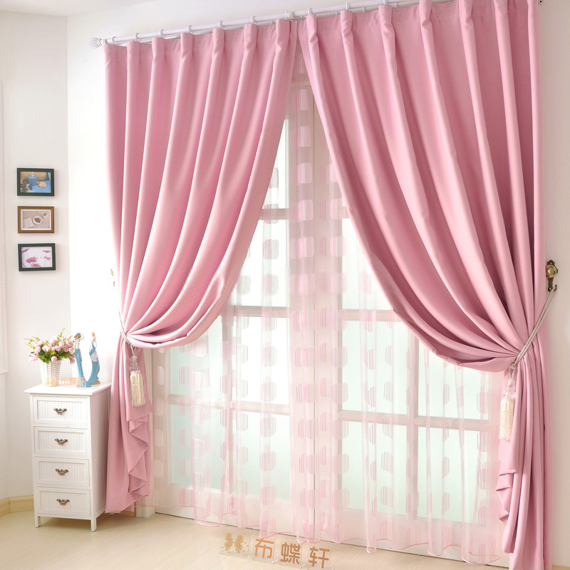 Attractive good quality solid girls cheap pink curtains wdzcrlq