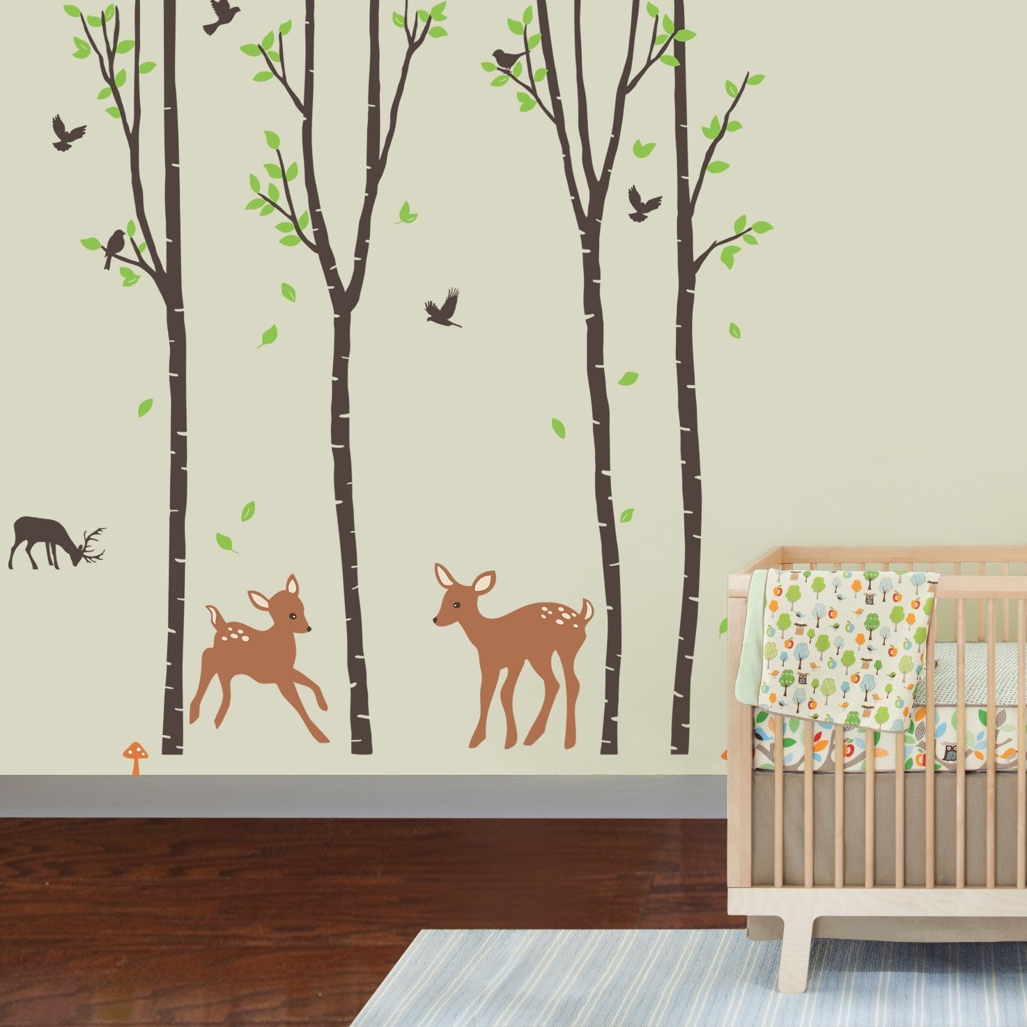 Attractive nursery wall decals amazon.com: giant wall sticker decals - birch tree forest with deers and ozbgvle
